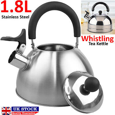 Whistling Kettle Stainless Steel Teapot Stovetop Fast Boil Water Coffee 1.8L • 13.95£