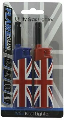 £2.49 • Buy 2 Electronic Refillable Union Jack Flag Adjustable Flame Gas Lighters Kitchen