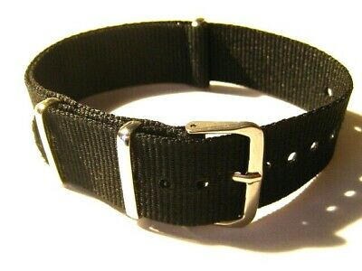 £5.49 • Buy Black Nylon Military Style Watch Strap.14mm To 22mm Fast Delivery From UK