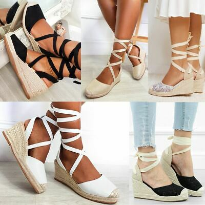 £17.99 • Buy Womens Ladies Summer Low Wedge Sandals Ankle Lace Tie Up Espadrilles Shoes Size