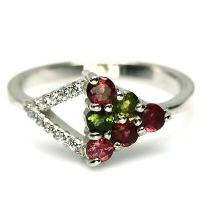 0.71ct Fancy Colour Tourmaline & White Topaz Ring In 925 Sterling Silver -Size N • 29£