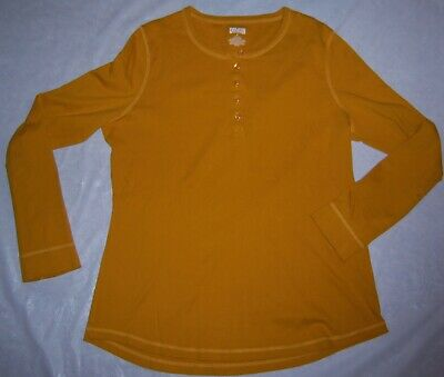 $18 • Buy DULUTH TRADING CO Mustard Yellow 3/4 Sleeve Henley Pullover Knit Shirt Top Large