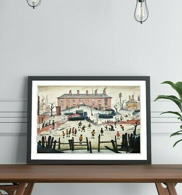 LS Lowry The Cricket Match People FRAMED WALL ART PRINT ARTWORK PAINTING 4 SIZES • 17.99£