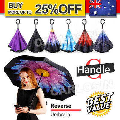 AU14.85 • Buy Windproof Upside Down Reverse Umbrella Double Layer Inside-Out Inverted C-Handle