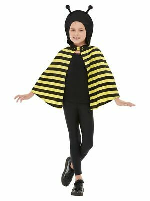 Boys Girls Yellow Black Bumble Bee Mini Beast Fancy Dress Costume Outfit Cape • 12.99£