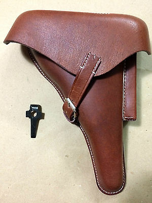 WWII GERMAN LUGER P08 Hardshell BROWN LEATHER HOLSTER W. Takedown TOOL - Repro • 29.66£