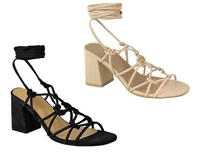 £16.99 • Buy Womens Ladies Mid Low Block Heel Casual Strappy Sandals Ankle Lace Tie Up Shoe