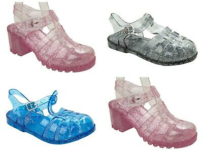 Girls Glitter Summer Holiday Beach Jelly Gladiator Sandals Shoes Uk Size 11-3 • 2.99£