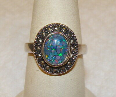 $39.99 • Buy Charles Winston Sterling Silver Mosaic Opal Doublet & Marcasite Halo Ring SZ 8