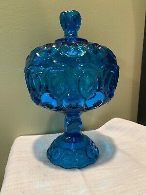 $8.99 • Buy Vtg Blue L E Smith Moon And Stars Covered Compote Pedestal Candy Dish + Lid LtB