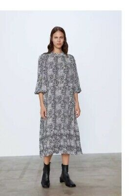 $46 • Buy Zara Animal Print Flowy Tiered High Neck Boho Midi Dress W/pockets  XXL