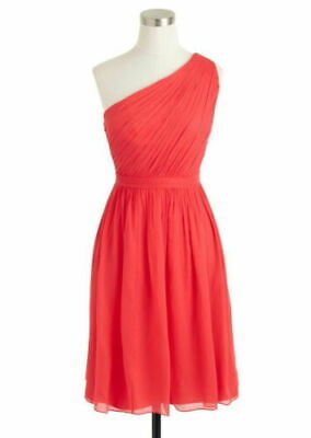 $49.99 • Buy NEW J. Crew Red Kylie One Shoulder Dress Silk Chiffon Homecoming Prom Party 16