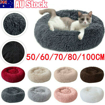 AU45.99 • Buy Pet Dog Cat Calming Bed Warm Soft Plush Round Nest Comfy Sleeping Kennel Cave AU