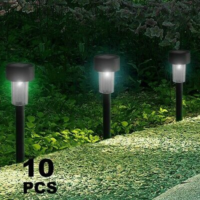 10x Powered Stainless Steel Led Bright Post Stake Lights Garden Patio Outdoor  • 8.49£