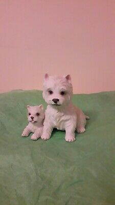 Royal Osbourne China Dogs. Westie And Pup. Hand Painted Porcelain. • 5£