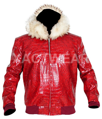 $142.48 • Buy Mens Red Crocodile Hooded Fur Leather Jacket - Best Quality Product -
