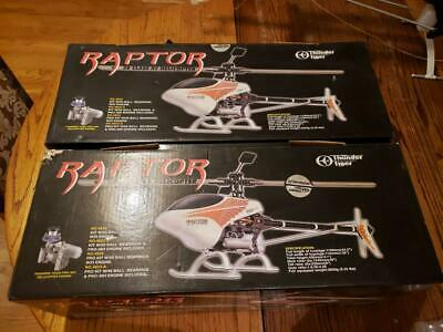 $350 • Buy (2) Thunder Tiger Raptor RC Helicopters & (3) Futaba 6-channel Radio Controllers