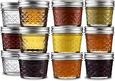 $20.49 • Buy Ball Mason  Jelly Jars 4 Ounce Quilted Crystal With SureTight Lids Set Of 12