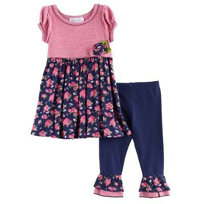 £11.74 • Buy Bonnie Jean Baby NWT Size 12 Months Girl Tunic Dress Flowers Leggings Outfit Set