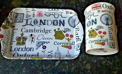 Britain Mug Tray Creativetops Bone China London Eye Towns Counties White  UK • 6.95£