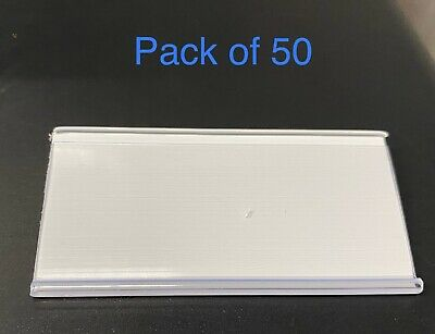 50 X White Plastic Label Holders Wire Shelf Retail Price Label Merchandise Sign  • 19.99£