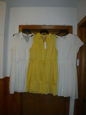 $17.50 • Buy Sleeveless Dresses ELLE Size 2XL,XL,Yellow Gold And Ivory Cream 100% Cotton NWT
