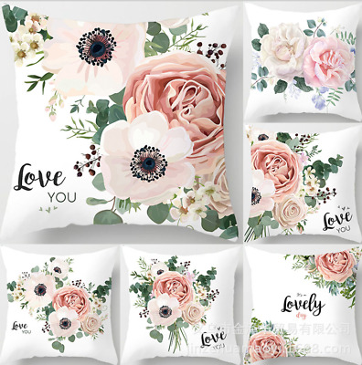 45X45cm Flower Love Decor Polyester Cushion Cover Pillow Case Home Sofa Decor UK • 2.89£