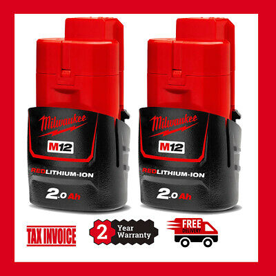 AU97 • Buy 2 X Genuine Milwaukee M12B2 12V Li-Ion 2.0Ah Battery  - 2 Years Warranty M12
