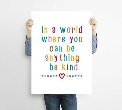 Be Kind Typography Art Print Poster Home Love Quote Nursery Word Art Wall Decor • 2.99£