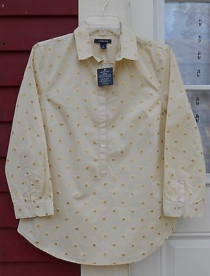 $9.89 • Buy LANDS' END NWT Beige/Gold 3/4 Sleeved Henley Shimmery Cotton Blouse Size 6 (38 )