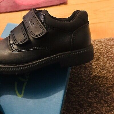 Clarks Deaton Black Leather Double Velcro School Shoes In Various Sizes • 17.50£
