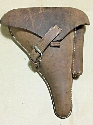 WWII GERMAN LUGER P08 Hardshell Holster Antique Look Oiled Leather - Repro • 37.47£