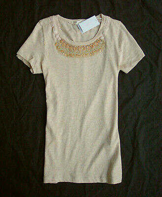 $19.99 • Buy NWT J.Crew Tissue Beaded Necklace Tee Size XL Oatmeal