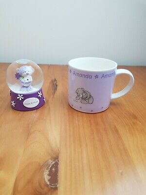 £12.99 • Buy Me To You Bear Tatty Teddy Personalised Amanda Cup And Happy Birthday Snow Globe