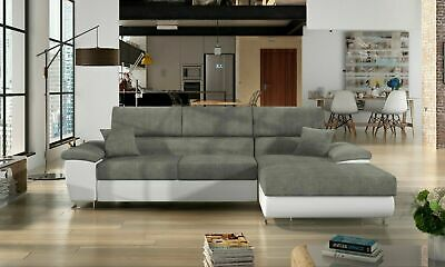 Sofa -Antonio L Corner Sofabed + Storage - Leather/Fabric - Black / White / Grey • 679£