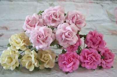 £2.49 • Buy Mulberry Paper Roses Flowers 2.5cm  Varied Colours Card Making Wedding