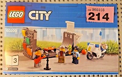 MiniFigs With SKATEBOARD PARK & POLICE MOTOR BIKE  -new LEGO-  REF P214 60200 • 14.95£