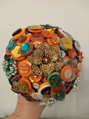 £39.50 • Buy Sparkling Button And Brooch Bouquet...Colourful Alternative Wedding Bouquet