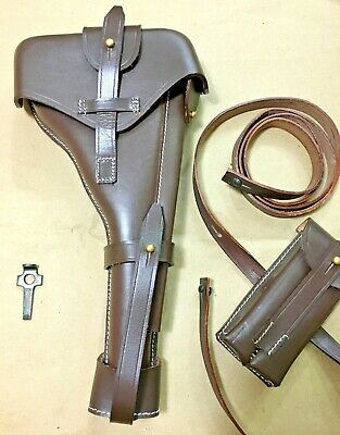 Luger P-08 8  Artillery Holster W. Stock Straps - DARK BROWN • 58.54£