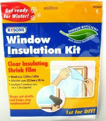 £2.99 • Buy Window Insulation Kit Shrink Fit Double Glazing Film Draught Excluder Frost Cold