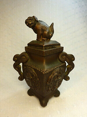 Antique Chinese Qing Bronze Covered Vase • 123.59£