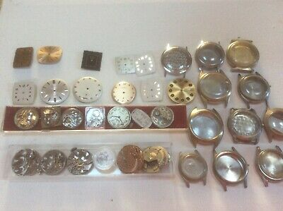 $ CDN74.49 • Buy Vintage Wrist Watch Parts Lot Dials Movements Cases Used