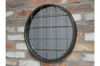 Industrial Round Mirror Black Finish Metal Frame Wall Mountable Home Decor  • 34.99£