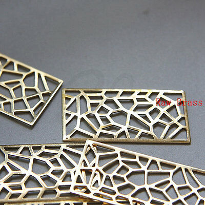 £3.62 • Buy 10 Pieces Raw Brass Filigree Rectangle Link - 45.5x23.5mm (3074C)