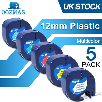 £8.99 • Buy 5PK Compatible Dymo LetraTag Plastic 91201 91202 91203 12mm Label Tape Laminated