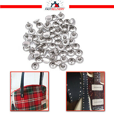 100pcs Metal Silver Tubular Rivets Double Cap For Leather Craft Cloth Repair 9mm • 3.75£