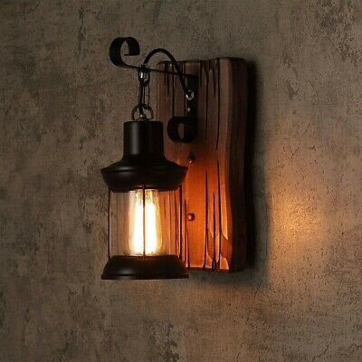 Cottage Style Metal Clear Glass Lantern 1-Light Wall Light & Wood Backplate 220V • 49.99£