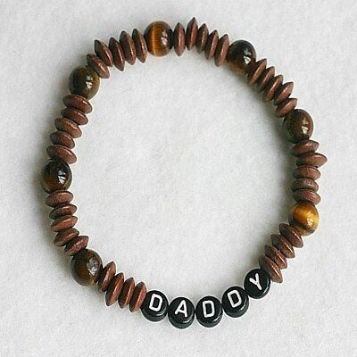 £6.99 • Buy Personalised Any Name Tigers Eye Wooden Gents Surfer Bracelet Fathers Day Gift