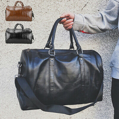 Leather Duffle Large Bag Mens Travel  Sports & Gym Bag Womens Luggage Handbag  • 9.79£