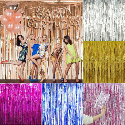 New Tinsel Shimmer Foil Door Curtain Garlands Birthday Party Disco Decorations • 2.94£